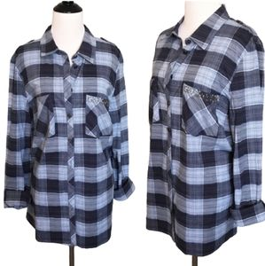 Tops - 5 for $25 blue plaid button down